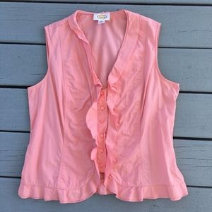 Talbots Pink Salmon Ruffled Button Up Shirt